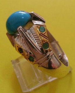 خاتم فضة عيار ٩٢٥  بحجر فيروز سينائى