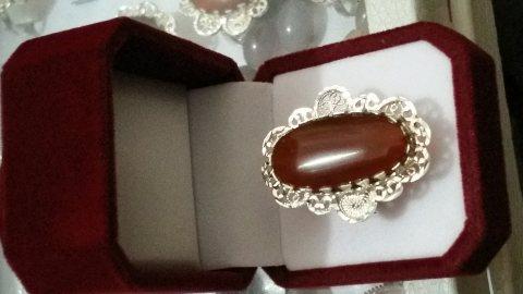 خواتم عقيق نسائي احمر كبدي (دم الغزال ) طبيعي 100% Onyx Agate