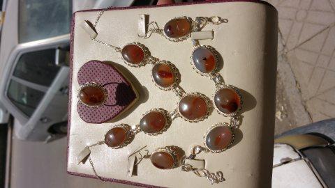 طقم مجوهرات نسائي عقيق يمني مزهر طبيعي 100% Onyx Agate