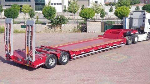 جديدة العربات نصف المقطورة عربة مقطورة مسطحة منخفضةالمحاور{2}الحمولة100طن
