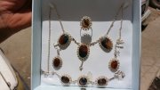 طقم مجوهرات نسائي عقيق يمني مزهر على اسود طبيعي 100% Onyx Agate